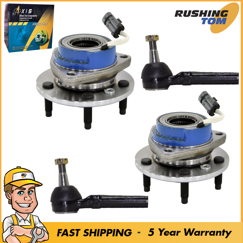 4Pc Front Wheel Hub Bearings & Outer Tie Rod ABS 5 Lug fits GMC
