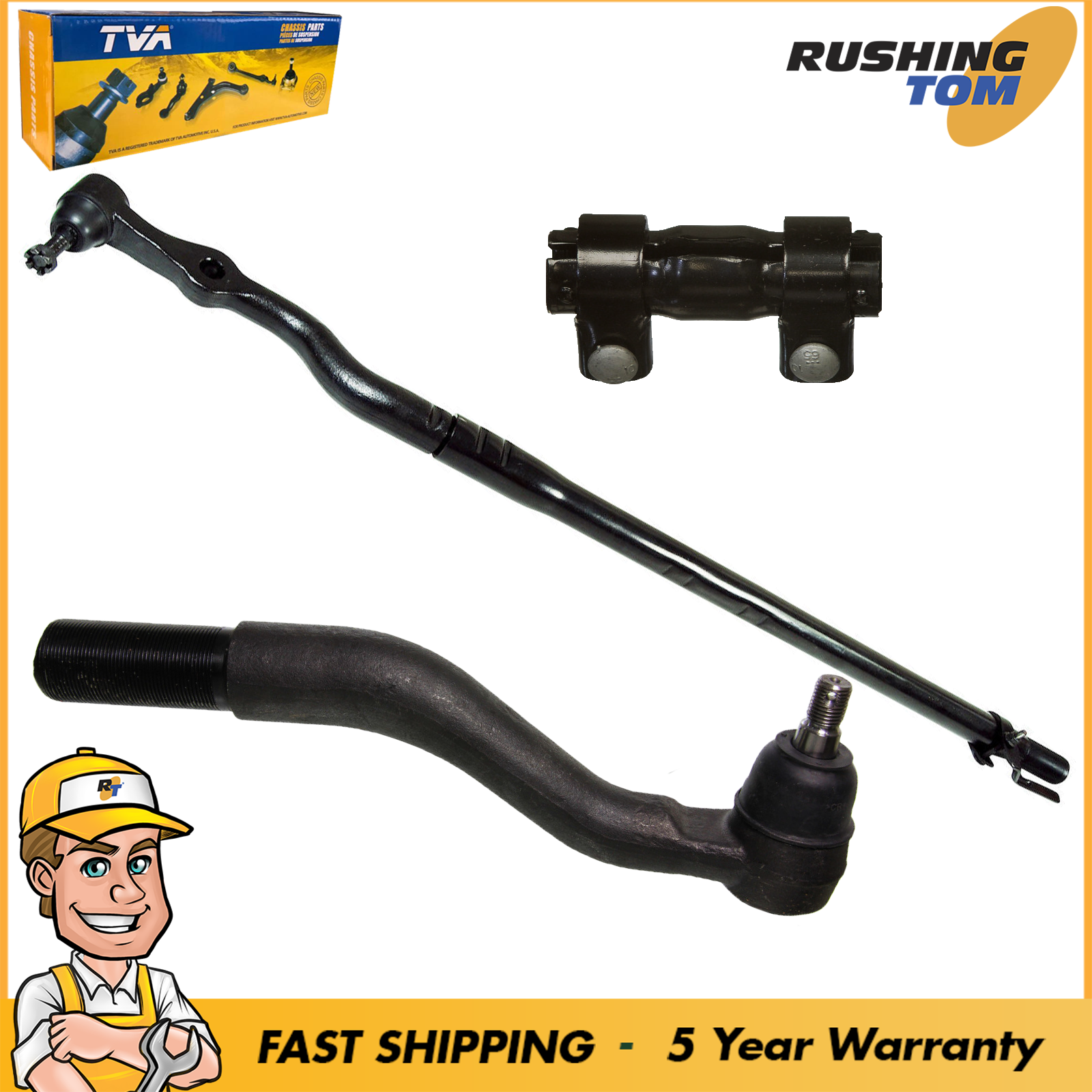 2 Piece Kit Outer Tie Rod End LH Set for Super Duty Pickup Truck 4WD