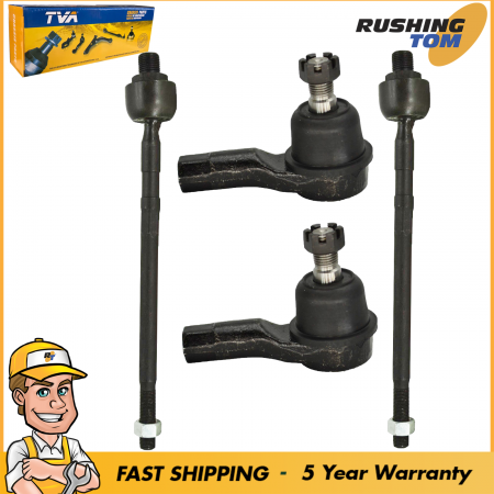 Fits 2001-2005 Kia Rio 4 Pc Kit Front Inner & Outer Tie Rod End Left & Right Set